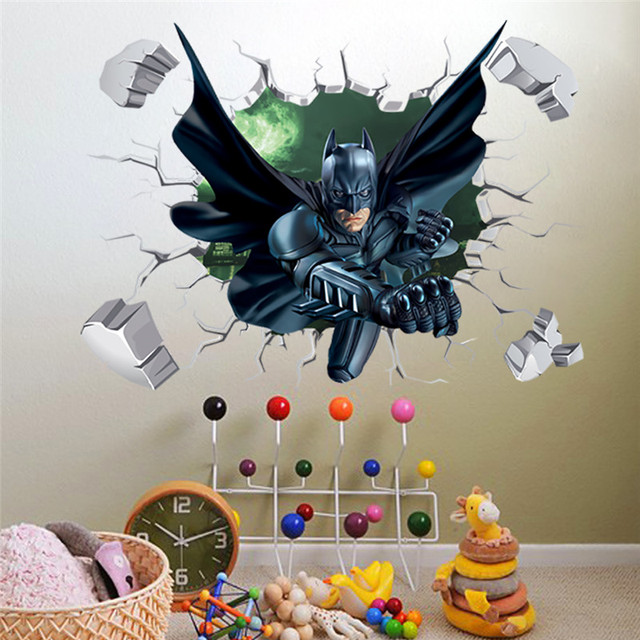 Delicieux 3D Effect Batman Spiderman Wall Sticker For Kids Children Room Cartoon Home  Decor Wall Art PVC