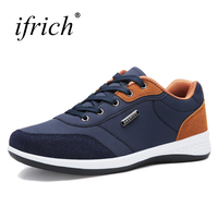 Hot Sale Walking Outdoor Sport Shoes Men Lace Up Blue Gray Sneaker Male Spring Autumn Leather