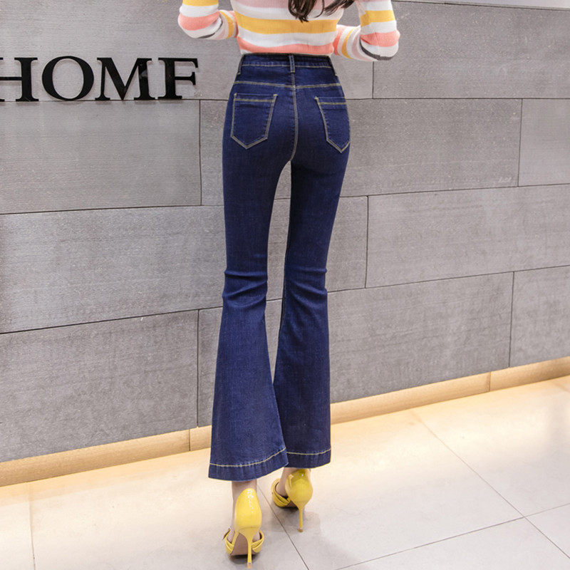 Vintage High Waisted Flare Jeans Women 2019 Spring Summer New Fashion Spliced Design Bell Bottom Jeans Pants Denim Trousers Lady