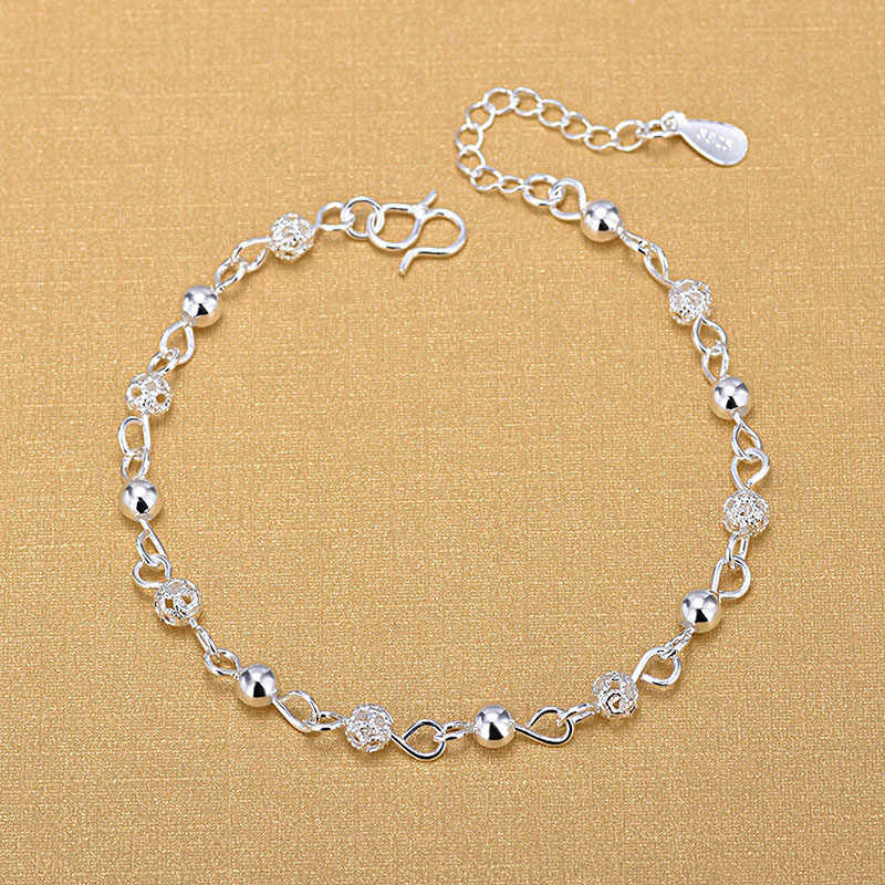 Silver Plated Anklets 925 Fashion Silver Jewelry Hollow Beads Anklet for Women Girls Friend Foot Barefoot Leg Jewelry