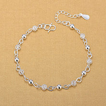 Silver Plated Anklets 925 Fashion Silver Jewelry Hollow Beads Anklet for Women Girls Friend Foot Barefoot Leg Jewelry(China)
