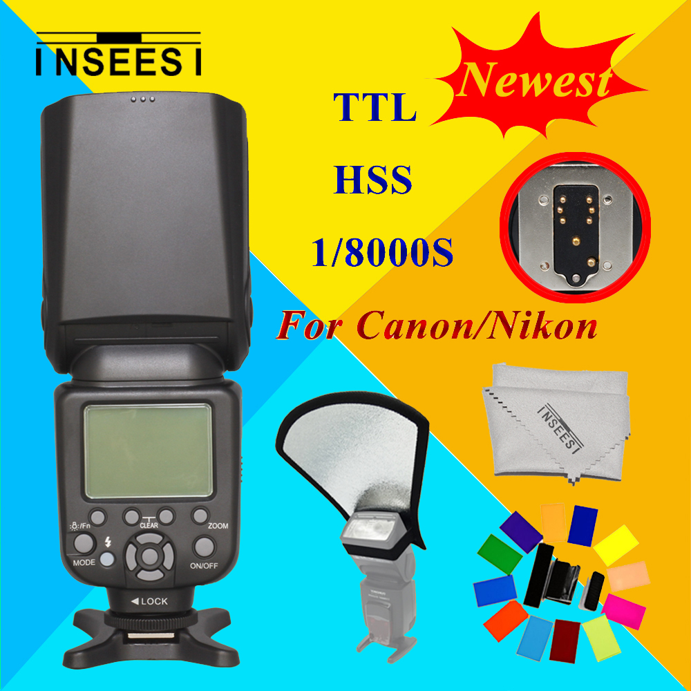 For Canon Nikon D3100 D3200 D7000 D5000  DSLR Camera Wireless TTL HSS 1/8000S Speedlite Flash Speedlight INSEESI IN 586EX II genuine meike mk950 flash speedlite speedlight w 2 0 lcd display for canon dslr 4xaa