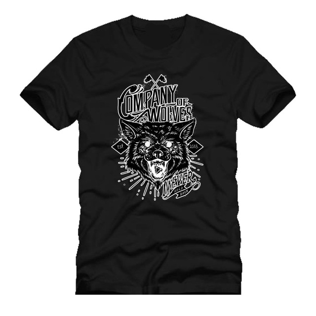 Cool T Shirts Designs Best Selling Men Company of Wolves Never Turn ...
