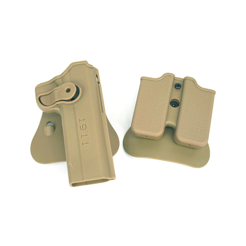 Tactical Airsoft Holster & Mag Pouch Set For IMI 1911 Black Double Magazine Holster Wholesale image