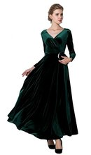 AnKoee Langes Kleid V-ausschnitt Langarm Samt Abendkleider Kleider
