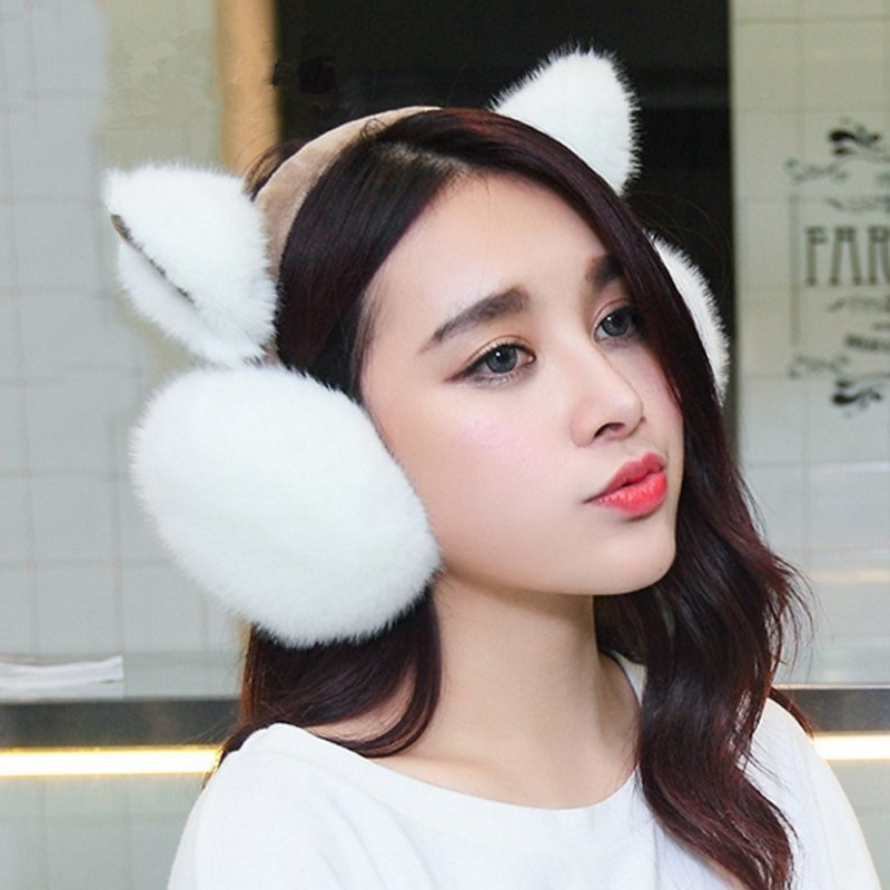Chinese Culture Red Woman Winter Earmuffs Ear Warmers Faux Fur Foldable Plush Outdoor Gift