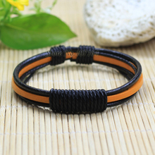 SF196-free shipping ethnic jewelry handmade genuine wrap leather bracelet for women bracelet men wristband bangle