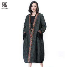 Outline Women Plus Size Autumn Winter Coat Loose Vintage Embroidery Jacquard Trench Pockets Tassel Loose Thicken Coats L164Y016