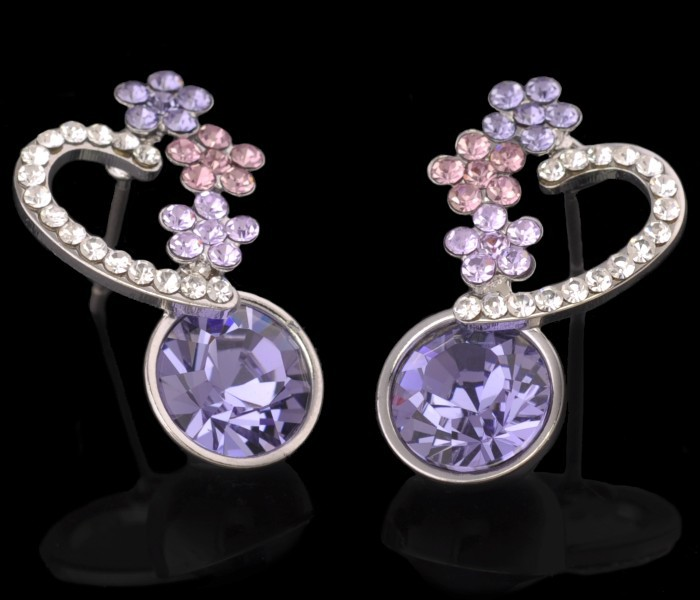 MxGxFam Высокое качество Австрия серьги с фиолетовым кристаллом для женщин цвет белого золота
