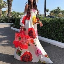 Boho Style Women Summer Dress Slash Neck Floral Print Half Sleeve Dresses Beach Casual Vintage Dress Floor Length vestidos S-3XL vintage slash neck 3 4 sleeve cherry print dress for women