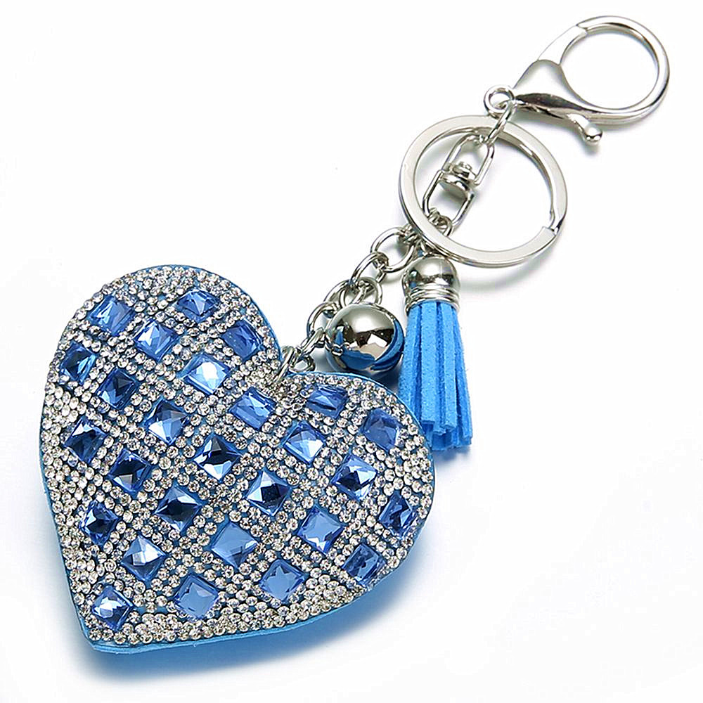 New Heart Keychain Women Girl Full Glass Beads Key Ring Crystal Customized Key Chains For Couples Friends Family Gifts
