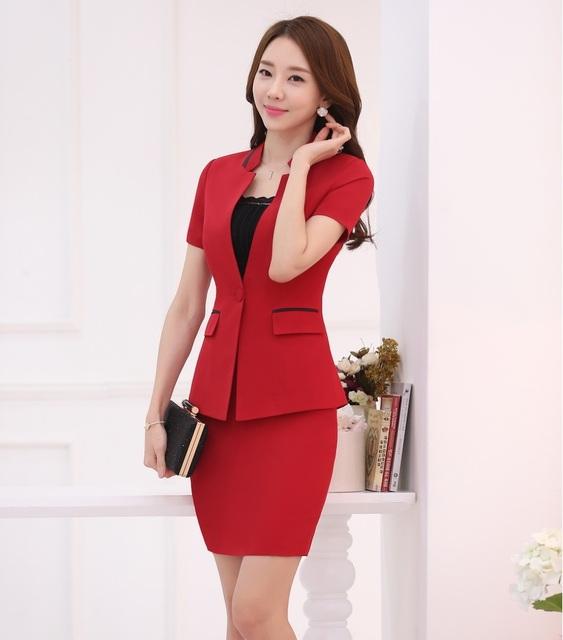 New Professional Business Women Ternos Jaquetas E Mini Saia 2016 Moda Verão Senhoras Blazers Uniformes Roupas Plus Size