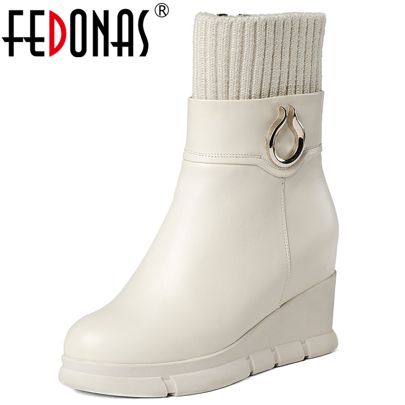 FEDONAS New Style Women Wedges High Heels Stretch Boots Warm Metal Buckles Party Club Shoes Woman Ladies Short Office Boots FEDONAS New Style Women Wedges High Heels Stretch Boots Warm Metal Buckles Party Club Shoes Woman Ladies Short Office Boots