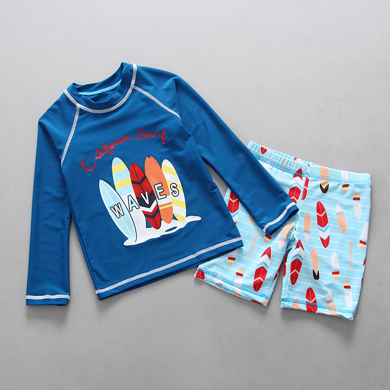 Children 39 s Swimwear Long Sleeve UPF50 Beach Sunscreen Kids Surfing Swimsuit Lovely Cartoon Two Piece Toddler Boys Bathing Suits in Rash Guard from Sports amp Entertainment