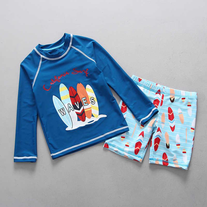 ملابس الأطفال طويلة الأكمام UPF50 + شاطئ واقية من الشمس الاطفال تصفح ملابس السباحة جميل الكرتون قطعتين طفل الفتيان لباس سباحة