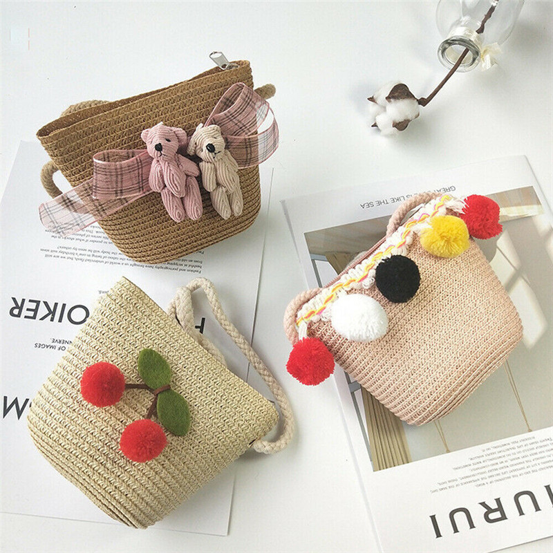 New Lovely Toddler kids Girls Straw Coin Purses Beach Messenger Bags Children Kids Girls Bear Floral Ball Shoulder Bag Handbag(China)