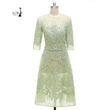 Langarm Prom kleid 2017 Oansatz A-linie Applizierte Lace halb Sleeve für Besondere Anlässe Kurze Abend-partei-kleid vestido de festa