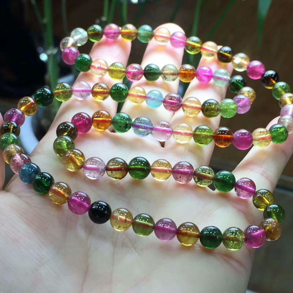 6mm 100% Natural Colorful Tourmaline Bracelet Necklace Three Laps Clear Round Beads Crystal Brazil Chain AAAAAA
