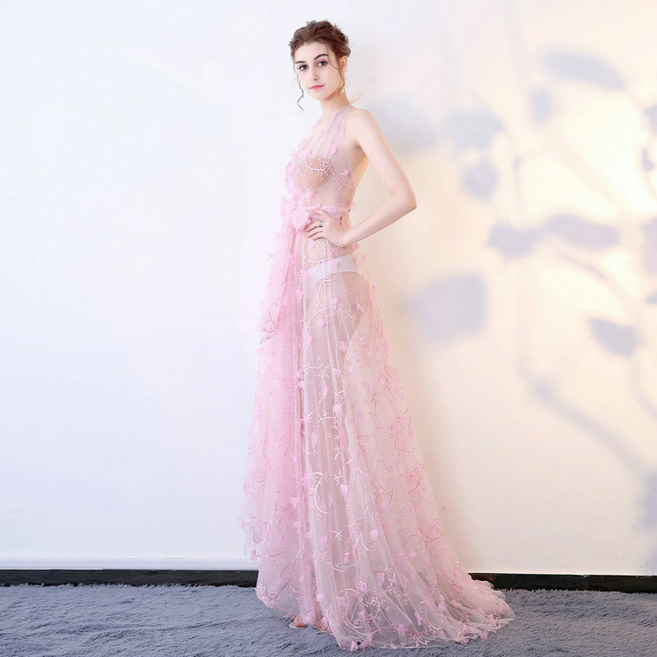 Fashion Pink Transparent Lace Formal Dress Party 2018 Sexy Evening ...