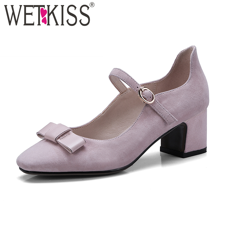 WETKISS Mary Janes Kid Suede Women Pumps High Heels Square Toe Buckle Strap Butterfly Knot Footwear Spring Sweet Ladies Shoes цена и фото