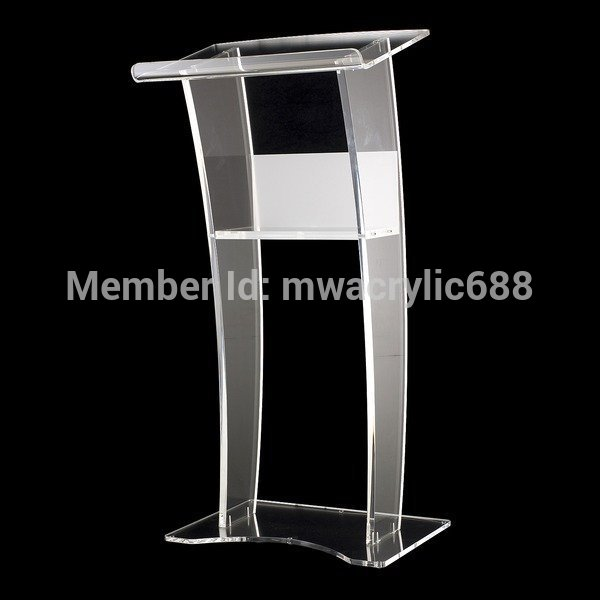 Free Shipping Stable Beautiful Modern Design Cheap Clear Acrylic Lectern Podium Plexiglass