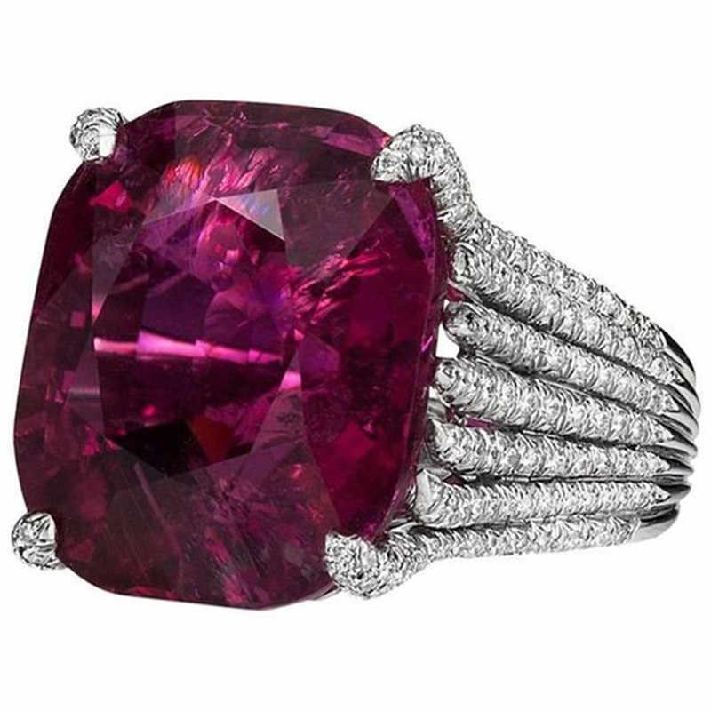 BOAKO ขนาดใหญ่หินสีม่วงหมั้นแหวน Bright Silver stripe แหวน Bague สำหรับผู้หญิงสาวแหวนเครื่องประดับ X7-M2