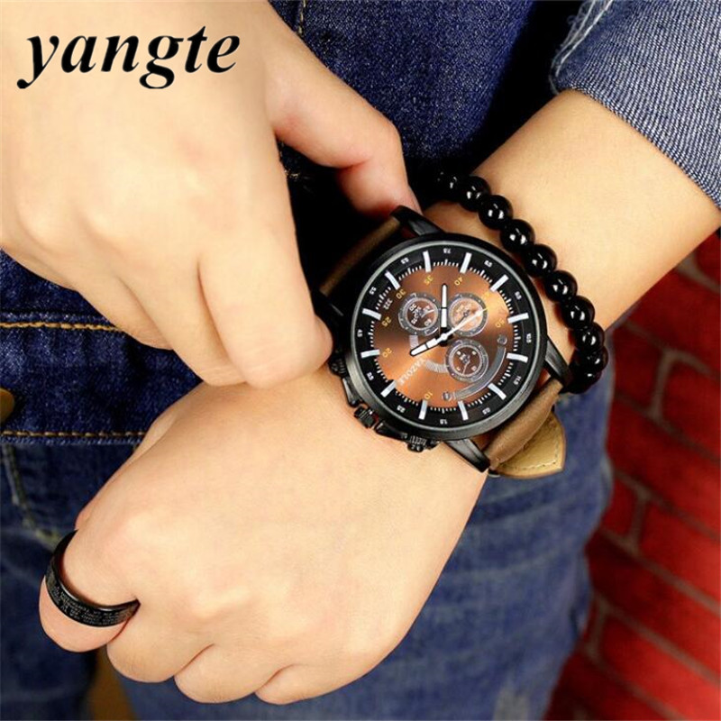 YANGTE Big Dial Casual Watch Men Luxury Analog Sports Military Watches Leather Quartz Relogio Masculino Reloj Hombre AB1057 m4 10pcs gb818 cross head nylon screw plastic screw nylon plastic screw flat head screw m4 6 8 10 12 16 30mm