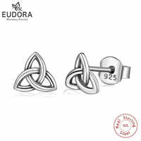 EUDORA Real 925 Sterling Silver Earring Celtics Trinity Knot Stud Triangle Earring Fashion Dangler for Gril Women Gift CYE69