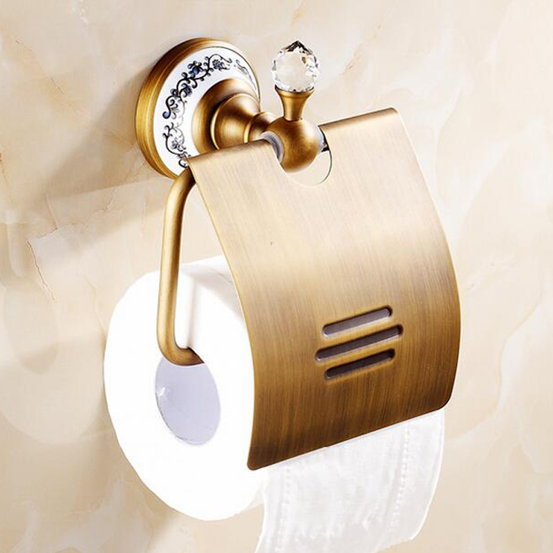 new designed wall mounted bathroom toilet paper holder with cover antique brass crystal roll. Black Bedroom Furniture Sets. Home Design Ideas