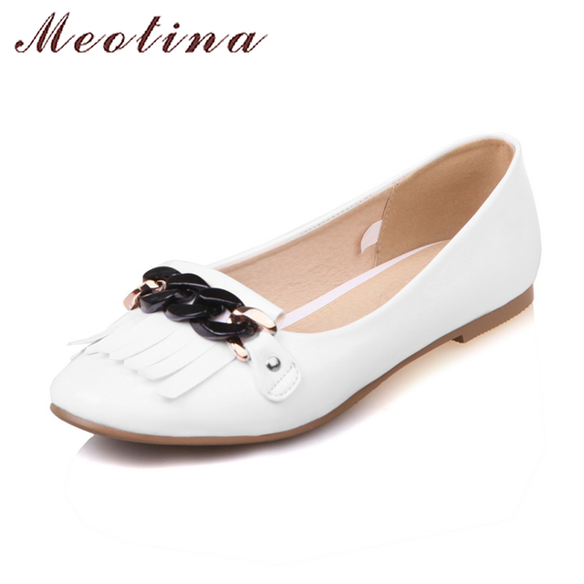 Meotina Boat Shoes Women Flats Metal Fringe Ballet Flats Shoes Square Toe Ladies Loafers White Dance Footwear Red Big Size 34-43