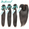 Rosa Hair Products 3 Pieces Brazilian Virgin Hair Bundles With Silk Base Closure Bleached Knots 4Pcs/Lot Straight  Grade 6A