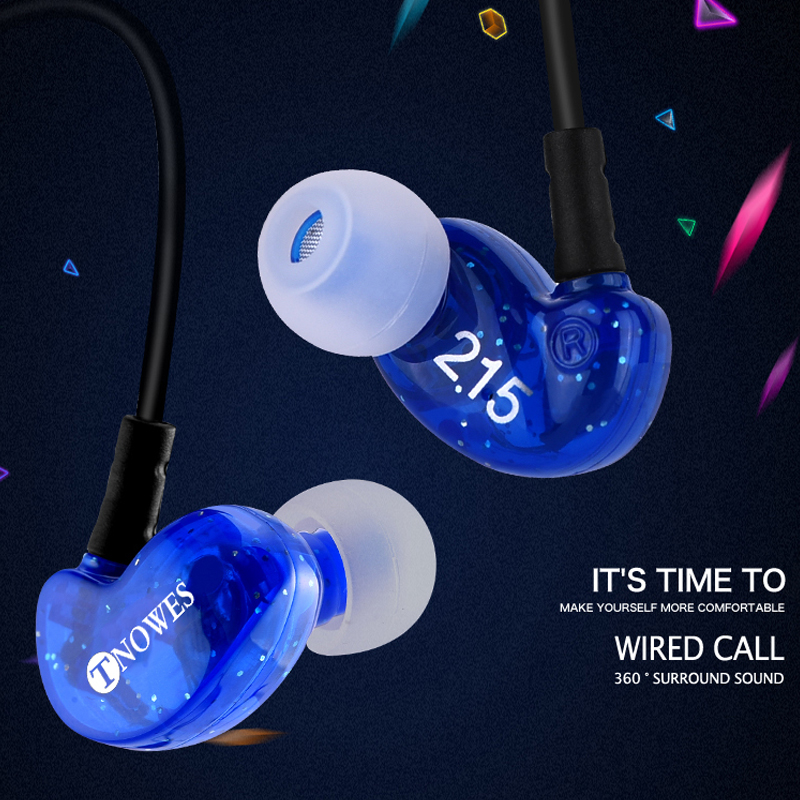 TN2 Wired Earbuds Headphones 3.5mm In Ear Earphone Earpiece With Mic Stereo Headset 4 Color For Samsung Xiaomi Phone Computer