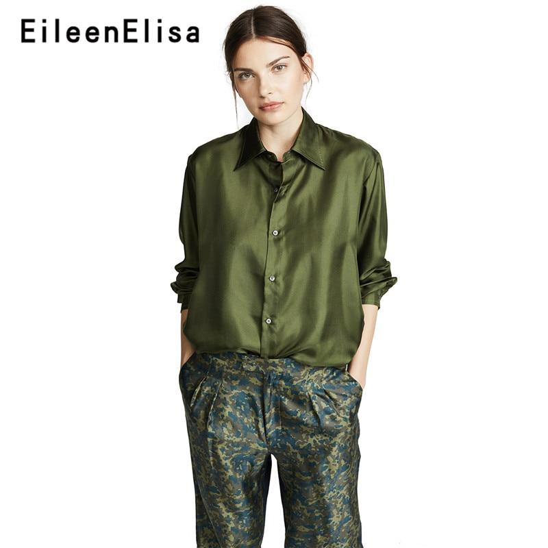 Eileen Elisa vert Blouse à manches longues dessus de chemise décontracté 2018 avant bouton Blouse femmes lâche