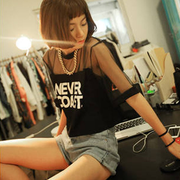 2016 New Sexy Kobiety Dziewczęta Loose Crop Top Koszulka Crew Neck przezroczyste Gaza Topy 4