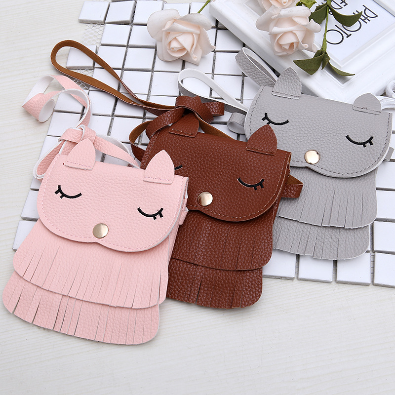 Fashion Girls Coin Purse Children's PU Leather Lovely Small Fox Fringed Pouch Cute Mini Baby Messenger Bags Wallets Kid Gifts