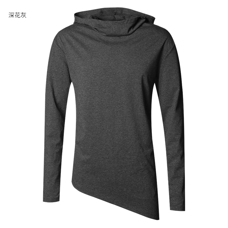 HTB1raZCXjnuK1RkSmFPq6AuzFXak - Men Autumn New European Style High Collar Long Sleeve Hooded T-shirt with Cap Men Slim Casual Cotton Irregular T-shirt T908