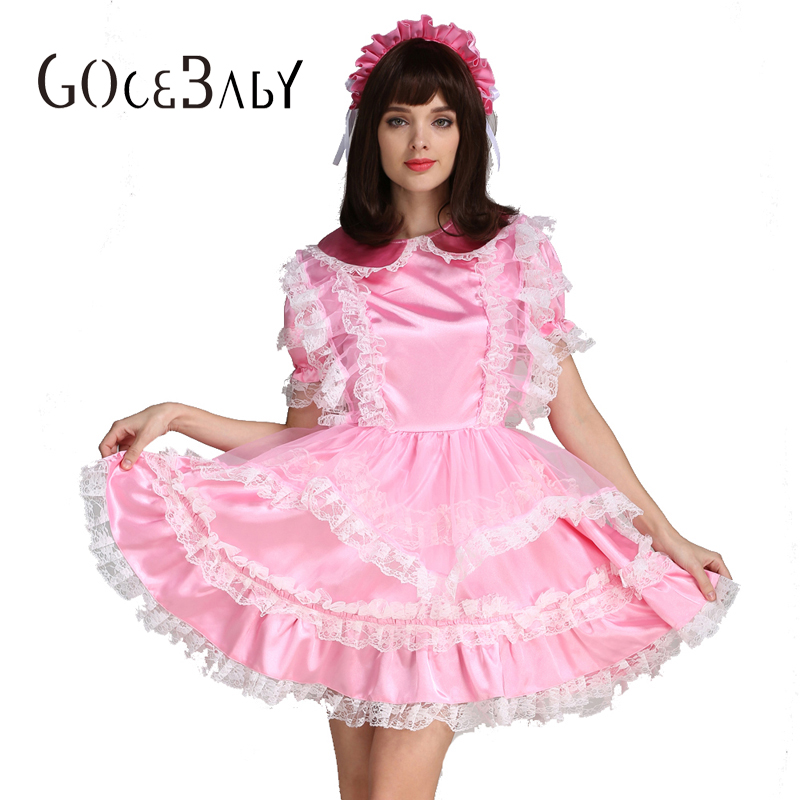Sissy Forcé Satin Femme De Chambre Rose Verrouillable Robe Costume Uniforme Crossdressing Cosplay Costume