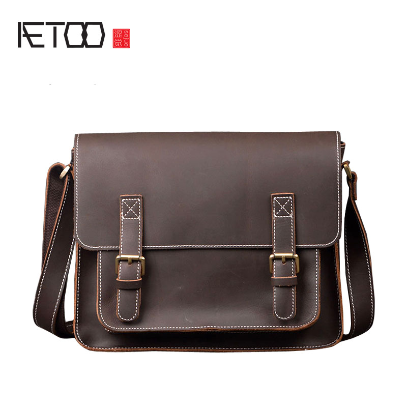 AETOO Leather skin bag male bag imports of mad horse leather shoulder bag head cowhide handbags personalized hand bag aetoo women retro shoulder bag fashion handbags europe and america shoulder bag head layer cowhide mad horse shopping bag