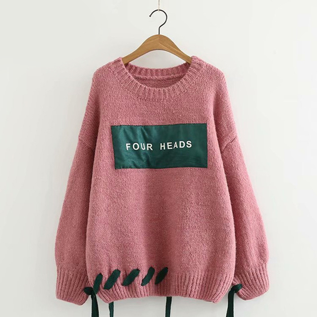 H.SA Autmn Winter Women Pullover and Sweaters O neck Tied Harajuku Lace Up  Knit Jumpers Letters Chic Pull Sweater christmaUnif 80bd641f8