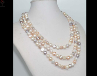 Wedding Women Jewelry 120CM 47inch Necklace 8 9mm White Pink Purple Mixed Pearl Baroque Natural Freshwater