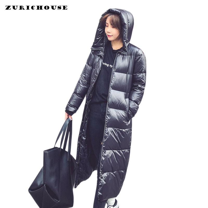 ZURICHOUSE 2020 Winter Duck Down Coats Woman Long Down Jacket Hooded Glossy Black Thick Warm Winter Jackets Parka Ladies