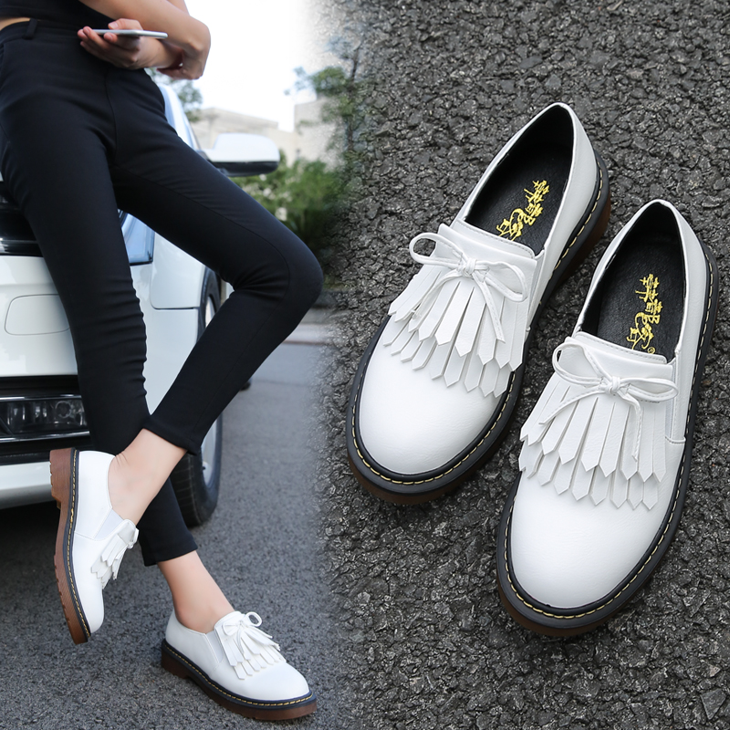 Loafer For Women Fashion Flats Loafers Womens Shoes Size 42 Tassels White Slip On Basic Woman Shoes England Syle Leather Pu Flat fashion horse hair tassels ornament flat shoes loafers shoes black pair size 35