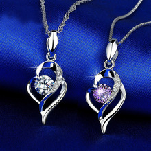 Hollow out heart shape necklace pendant for women female constellation fashion Jewelry Crystal Necklaces Pendants