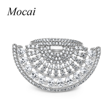 2016 fashion Brand Design Exaggerated Luxury AAA Cubic Zirconia Hollow Big Sector Rings For Women Shining Party Accessories zk30