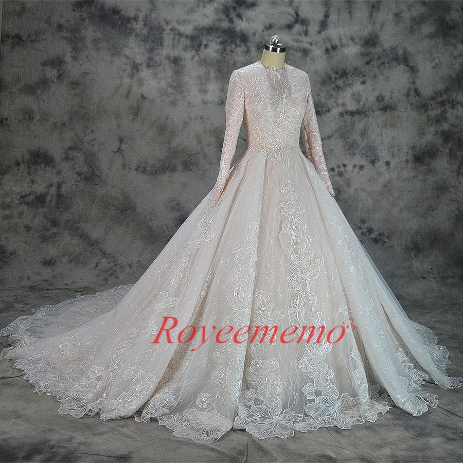 Hot Sale Special Lace Design Muslim Wedding Dress Nude Satin All