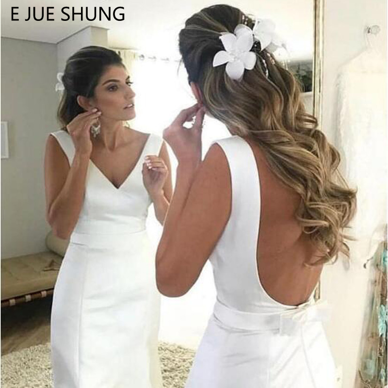 E JUE SHUNG White Satin Simple Mermaid Wedding Dresses 2019 Backless Beach Bride Dresses vestido de