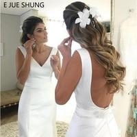 E JUE SHUNG White Satin Simple Mermaid Wedding Dresses 2019 Backless Beach Bride Dresses vestido de noiva robe de mariee