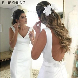 E JUE SHUNG White Satin Simple Mermaid Wedding Dresses 2019 Backless Beach Bride Dresses vestido de noiva robe de mariee 1