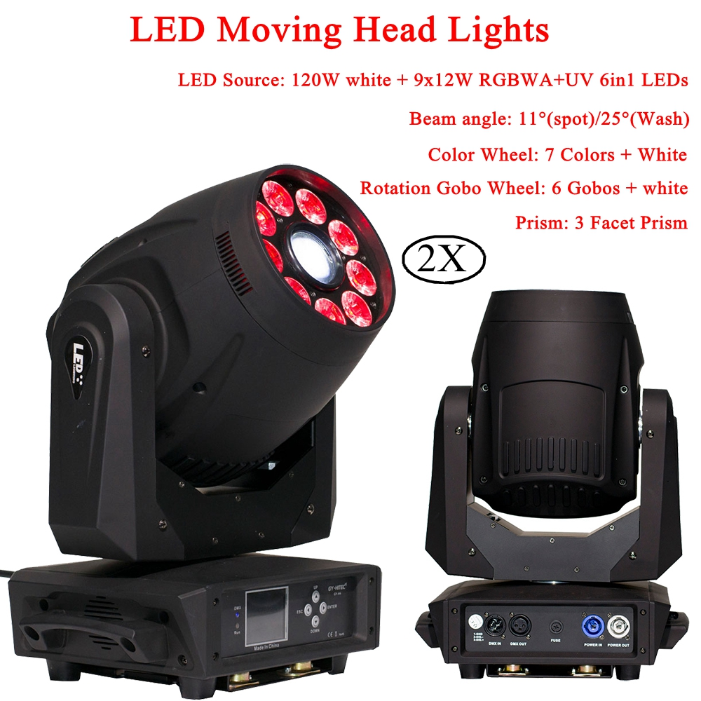 2Pcs/Lot 120W Spot Moving Head 9x12W RGBWA+UV 6IN1 LEDs Moving Head Lights Stage Lamp For DJ Disco Party Night Light equipment2Pcs/Lot 120W Spot Moving Head 9x12W RGBWA+UV 6IN1 LEDs Moving Head Lights Stage Lamp For DJ Disco Party Night Light equipment