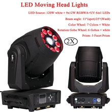 2Pcs/Lot 120W Spot Moving Head 9x12W RGBWA+UV 6IN1 LEDs Lights Stage Lamp For DJ Disco Party Night Light equipment